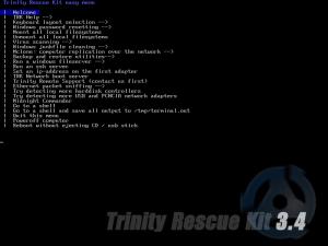 Trinity Rescue Kit 3.4 Hauptmenü