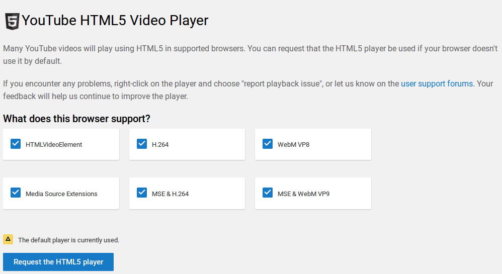 Youtube HTML5 all supported