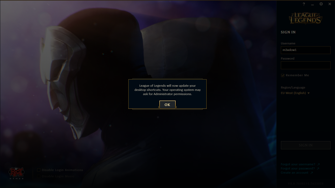 League of Legends Launcher Shortcut Popup
