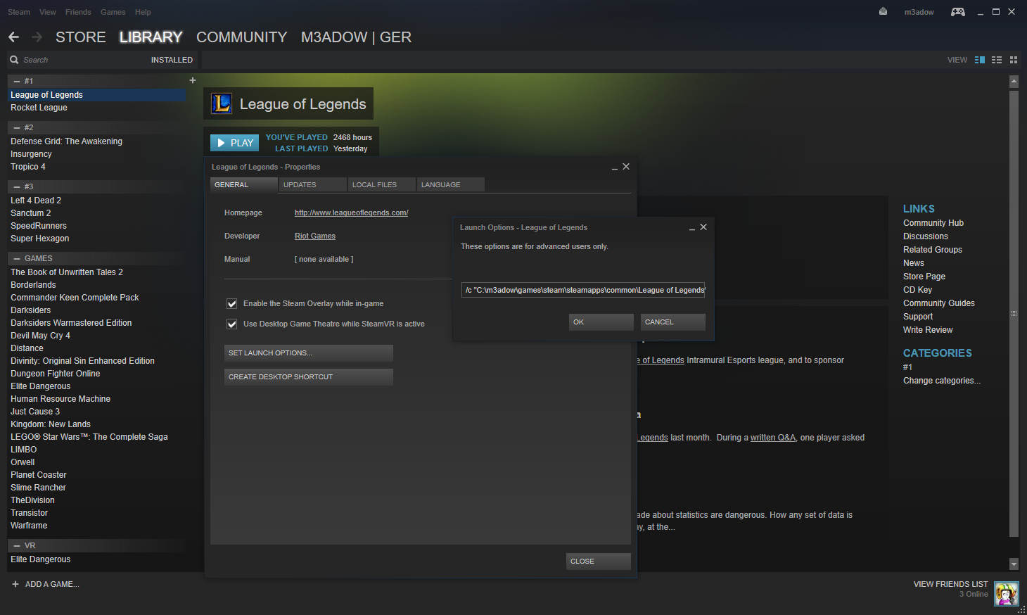 Steam League of Legends Launch Options