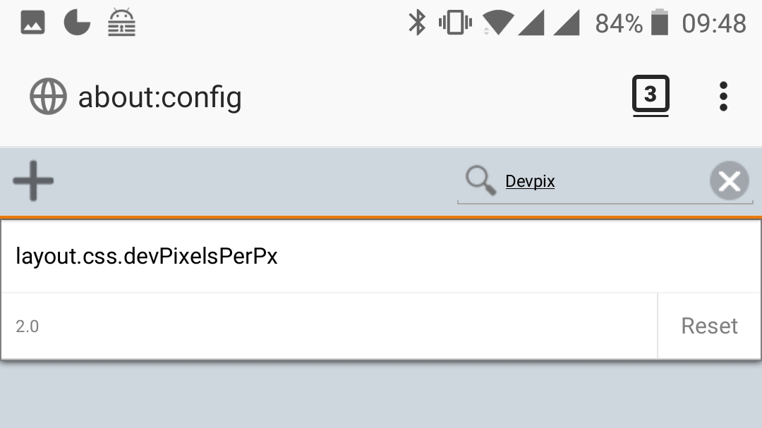 Firefox Mobile about:config - layout.css.devPixelsPerPx