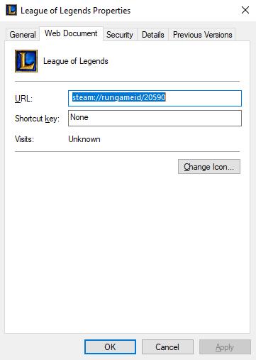 League of Legends Steam properties